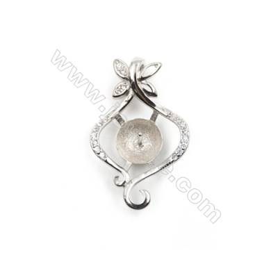 925 Sterling silver platinum plated zircon pendant, 16x24mm, x 5pcs, tray 8mm