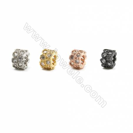Brass Spacer Beads, Column, Hole 3mm, Size 4x6mm, x30pcs/pack  (Gold, White Gold, Rose Gold, Gun Black) Plated
