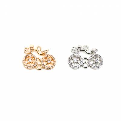 14x20mm  Brass Connectors, Bike, (Gold, White gold) Plated, CZ Micropave, hole 1.5mm, 20pcs/pack