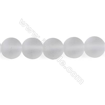 Frosted Rock Crystal Beads Strand  Round  Diameter 10mm  hole 1mm  about 40 beads/strand 15~16""