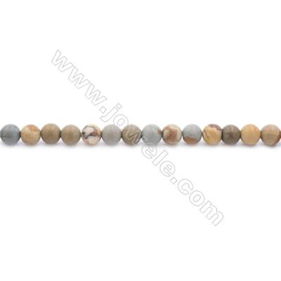 Frosted Wild-horse Picture Jasper Beads Strand  Round  Diameter 4mm  hole 0.8mm  about 97 beads/strand 15~16""