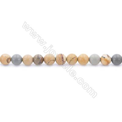 Frosted Wild-horse Picture Jasper Beads Strand  Round  Diameter 6mm  hole 1mm  about 66 beads/strand 15~16""