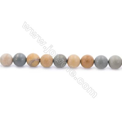 Frosted Wild-horse Picture Jasper Beads Strand  Round  Diameter 8mm  hole 1mm  about 50 beads/strand 15~16""