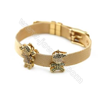 304 Stainless Steel Mesh Bracelets, Watchband, Golden, with Brass Micro Pave Cubic Zirconia Couple Charm, 210mm, Width 10mm