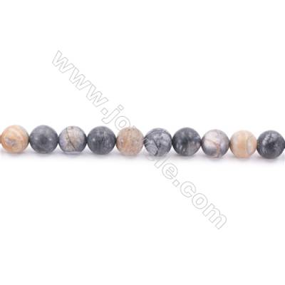 Frosted Picasso Jasper Beads Strand  Round  Diameter 8mm  hole 1mm  about 51 beads/strand 15~16""