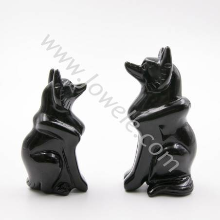 Natural Obsidian Statue, Gemstone Carvings, Fox, Size 60x25x35mm, 2pcs/pack