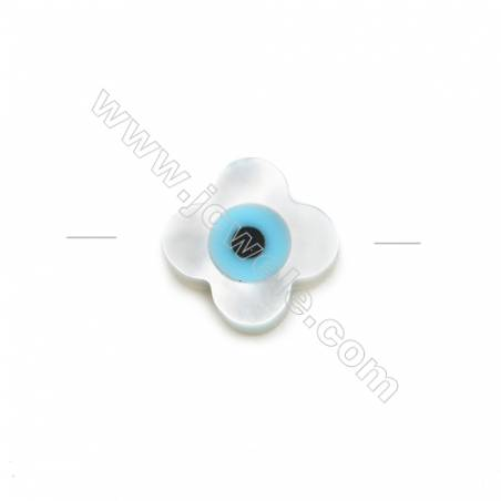 Fashion flower-shaped white mother-of-pearl with blue evil eye, 8mm, hole 0.7mm, 30pcs/pack