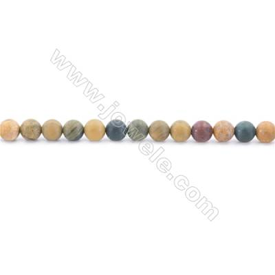 Frosted Ocean Jasper Beads Strand  Round  Diameter 6mm  hole 1mm  about 64 beads/strand 15~16""