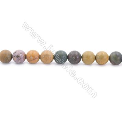 """Frosted Ocean Jasper Beads Strand  Round  Diameter 8mm  hole 1mm  about 48 beads/strand 15~16"""""""