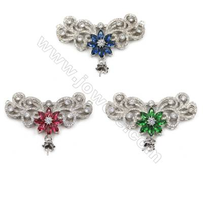 Brass Pave Cubic Zirconia Connectors, Wings, Tray 6mm, Pin 1mm, Hole 1.5mm, Size 54x41mm, x1pc, can inlay half-drilled bead