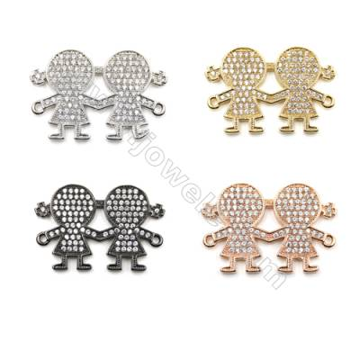 Brass Pave Cubic Zirconia Connectors, Girls, Hole 1mm, Size 19x27mm, x10pcs/pack, (Gold, White Gold, Rose Gold, Gun Black)Plated