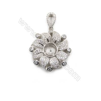 925 Sterling silver platinum plated cubic zircon pendant, 25x29 mm, x 5pcs, tray 7 mm