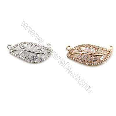 Brass Micro Pave Cubic Zirconia Connectors, Leaf, (White Gold, Rose Gold) Plated, Hole 1mm, Size 12x26mm, x10pcs/pack