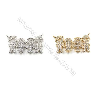 Brass Micro Pave Cubic Zirconia Connectors, (Gold, White Gold) Plated, Hole 1mm, Size 14x27mm, x12pcs/pack