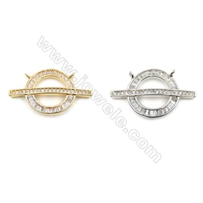 Brass Micro Pave Cubic Zirconia Connectors, Rudder, (Gold, White Gold) Plated, Hole 1mm, Size 17x29mm, x10pcs/pack