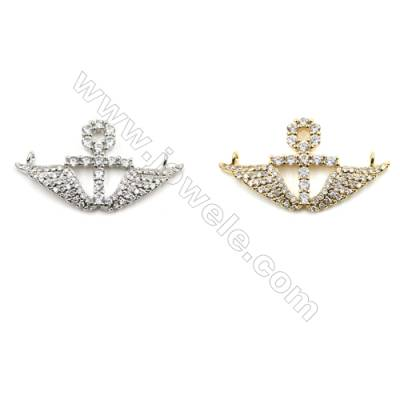 Brass Micro Pave Cubic Zirconia Connectors, Anchor, (Gold, White Gold) Plated, Hole 1mm, Size 16x28mm, x14pcs/pack