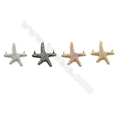 Brass Pave Cubic Zirconia Connectors, Starfish, Hole 1mm, Size 20x21mm, x20pcs/pack