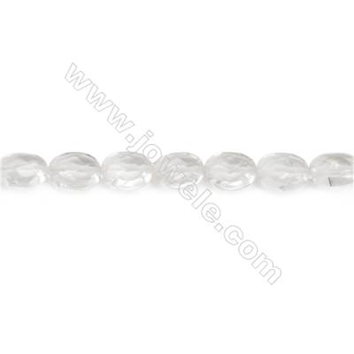Faceted Rock Crystal Beads Strand  Flat Oval  Size 8x10mm  hole 1mm  about 39 beads/strand 15~16""