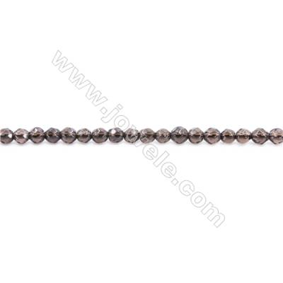 Natural Smoky Quartz Beads Strand Faceted Round  Diameter 4mm  hole 1mm  about 93 beads/strand 15~16""