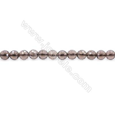 Natural Smoky Quartz Beads Strand Faceted Round  Diameter 6mm  hole 1mm  about 63 beads/strand 15~16""
