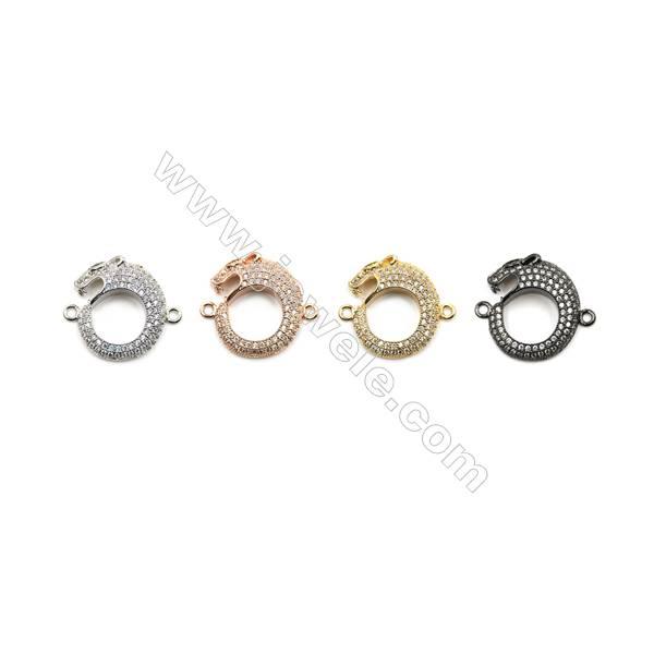 Brass Pave Cubic Zirconia Connectors, Leopard, Hole 1mm, Size 16x19mm, x12pcs/pack