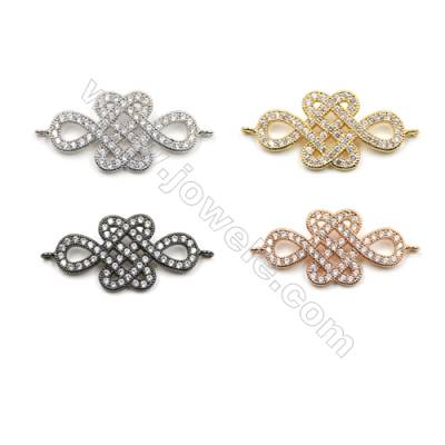 Brass Pave Cubic Zirconia Connectors, Chinese knot, Hole 1mm, Size 15x28mm, x16pcs/pack