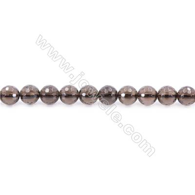 Natural Smoky Quartz Beads Strand Faceted Round  Diameter 8mm  hole 1mm  about 50 beads/strand 15~16""