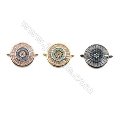 Brass Micro Pave Cubic Zirconia Connectors, Round, Hole 1mm, Diameter15mm, x8pcs/pack