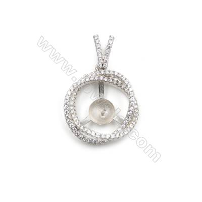 New design platinum plated AAA zircon jewelry 925 silver pendant necklace, 20mm, x 5pcs, tray 8mm, hole  0.7mm