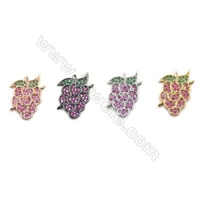 Brass Pave Cubic Zirconia Connectors, Grape, Hole 1mm, Size 14x18mm, x12pcs/pack