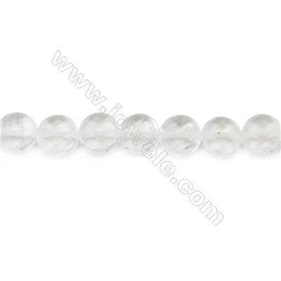 Faceted Rock Crystal Beads Strand  Flat Round  Diameter 12mm  hole 1mm  about 39 beads/strand 15~16""