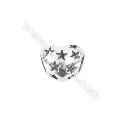 Sterling Silver European Beads, x 1 Piece, Heart, Size 10x12mm, hole 4.5mm