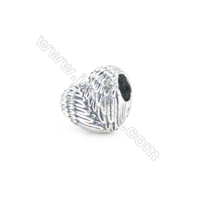 Sterling Silver European Beads, x 1 Piece, Angel Wing, Size 10x12mm, hole 4.5mm