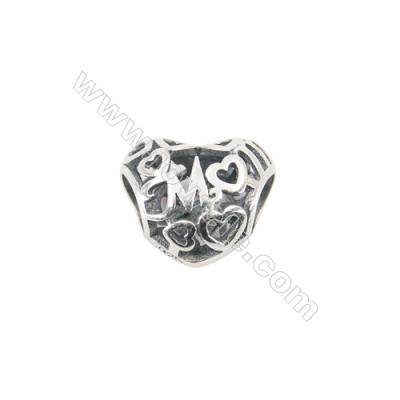 Sterling Silver European Beads, x 1 Piece, Hollow Heart, Size 10x12mm, hole 4.5mm