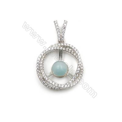 New design platinum plated AAA zircon jewelry 925 silver pendant necklace--D5648 20mm x 5pcs  disc diameter 8mm   hole  0.7mm