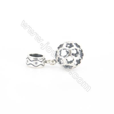 Sterling Silver European Beads, x 1 Piece, Hollow, Diameter 10mm