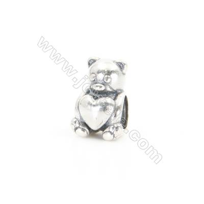 Sterling Silver European Beads, x 1 Piece, Bear, Size:10x13mm, Hole 5.5mm