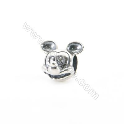 Sterling Silver European Beads, x 1 Piece, Mouse, Size:10x12mm, Hole 4.5mm