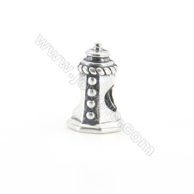 Sterling Silver European Beads, x 1 Piece, Tower, Size 10x16mm, hole 5mm