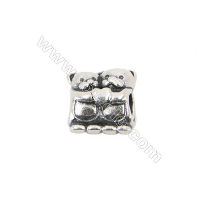 Sterling Silver European Beads, x 1 Piece, Bear, Size 10x11mm, hole 4mm