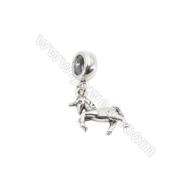 Sterling Silver European Beads, x 1 Piece, Horse, Size 9x16mm