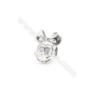 Sterling Silver European Beads, x 1 Piece, American Mouse, Size: 11x13mm, Hole 3.5mm