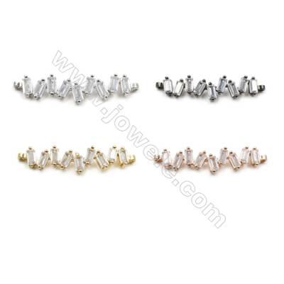 Brass Pave Cubic Zirconia Connectors, Hole 1mm, Size 8x30mm, x20pcs/pack