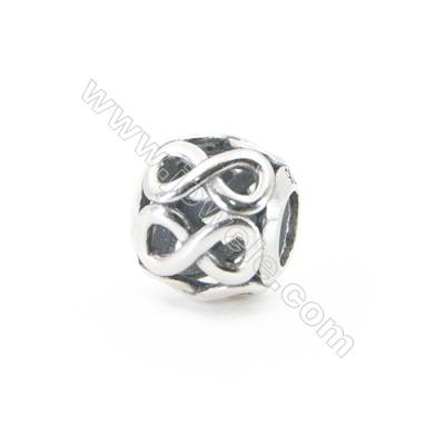 Sterling Silver European Beads, x 1 Piece, Figure 8, Diameter 10mm, hole 4mm