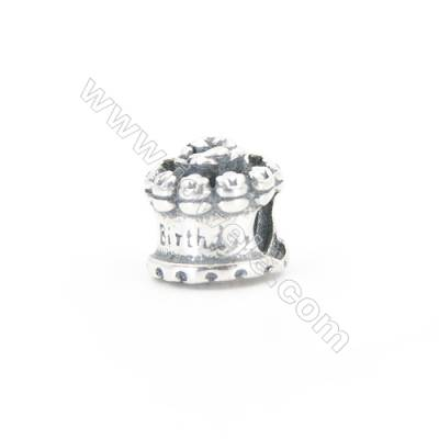 Sterling Silver European Beads, x 1 Piece, Birthday Cake, Size: 9x10mm, Hole 4.5mm