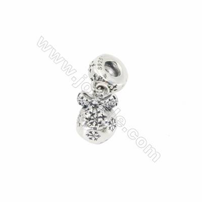 Sterling Silver European Beads, x 1 Piece, Snowflake, Size 8x13mm