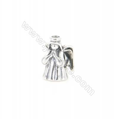 Sterling Silver European Beads, x 1 Piece, Angel, Size:8x12mm, Hole 4mm