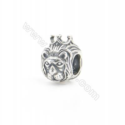 Sterling Silver European Beads, x 1 Piece, Lion, Size:10x11mm, Hole 4.5mm