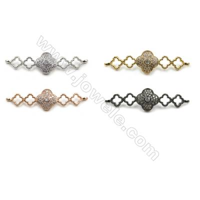 Brass Micro Pave Cubic Zirconia Connectors, Hole 1mm, Size 11x37mm, x20pcs/pack