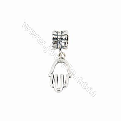 Sterling Silver European Beads, x 1 Piece, Palm, Size: 9X17mm